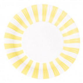 12 Pratos Amarelos RISCAS 23cm
