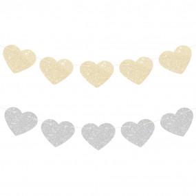 Grinalda Corações Dourado Prata