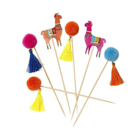 Toppers Palito Pompons Lamas