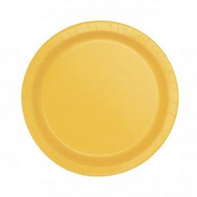 8 Pratos Amarelo Subflower 18cm
