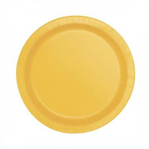 8 Pratos Amarelo Sunflower 18cm