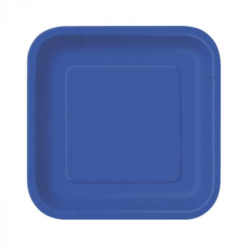 16 Pratos Quadrados Azul Royal