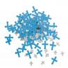 Confetis Cruzes Azul e Prata