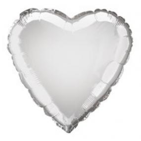 Balão Coração Prateado 46cm
