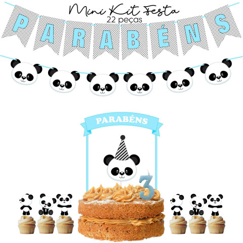 Kit Festa Panda Azul