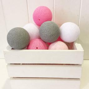 Grinalda Cotton Balls Rosa Grey 10 Bolas