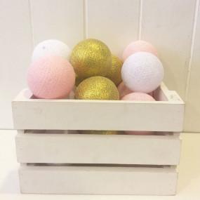 Grinalda Cotton Balls Rosa Gold 20 Bolas