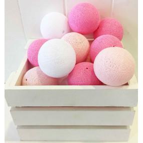 Grinalda Cotton Balls Rosa 10 Bolas