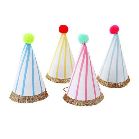 Mini Chapéus Festa Coloridos Pompom