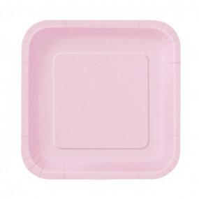 16 Pratos Quadrados Rosa Bebé