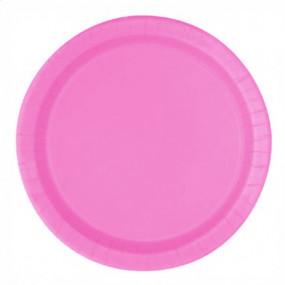 16 Pratos Rosa Hot 22cm