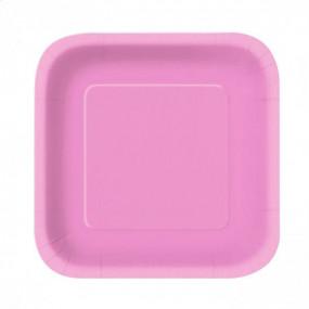 Pratos Quadrados Rosa