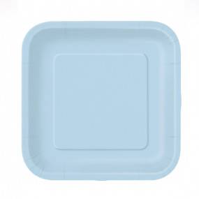 16 Pratos Quadrados Azul Bebé