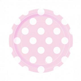 8 Pratos Rosa Claro Bolas 18cm