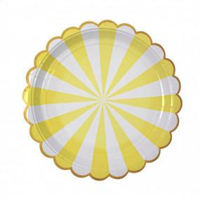Pratos Riscas Amarelo Ouro 18cm
