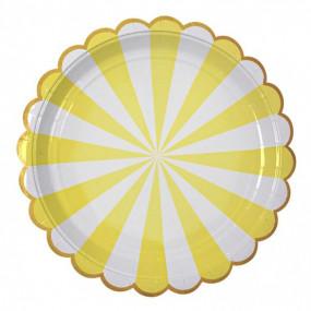 Pratos Riscas Amarelo Ouro 22cm