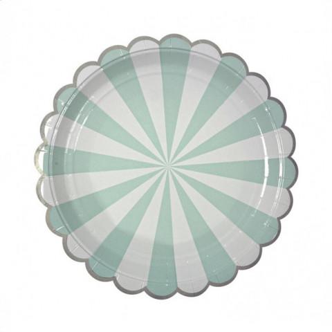 Pratos Riscas Verde Agua prata 18cm