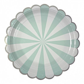 Pratos Riscas Verde Agua prata 22cm