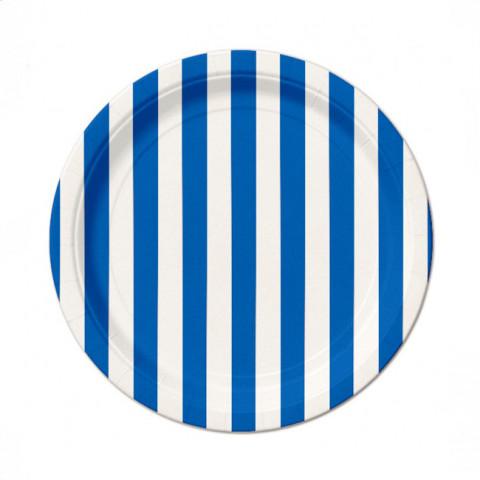 Pratos Azuis Riscas 18cm