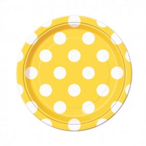8 Pratos Amarelos Bolas 18cm
