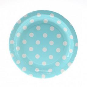 12 Pratos Azul Bebé Bolas 18cm
