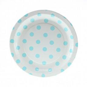 12 Pratos Branco Bolas Azuis 18cm