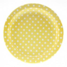 12 Pratos Amarelos Bolas 23cm