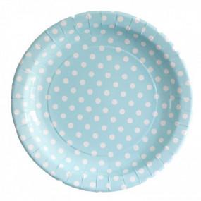 12 Pratos Azul Bolas 23cm