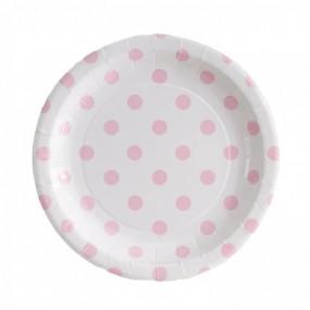 Pratos Branco Bolas Rosa
