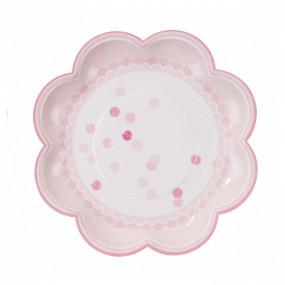 8 Pratos Rosa Bolinhas