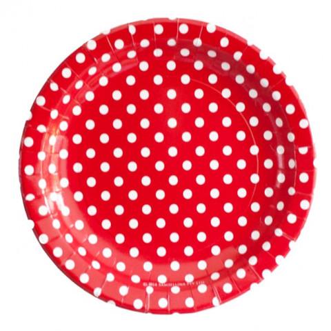 12 Pratos Vermelhos Bolas 23cm