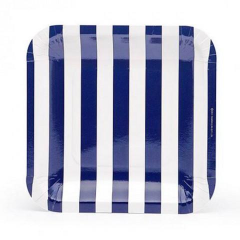 Pratos Quadrados Riscas Azul