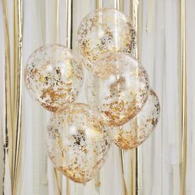 Balões CONFETIS Dourados - Conj. 5