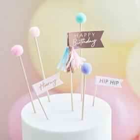 Topo Bolo Happy Birthday Pompons