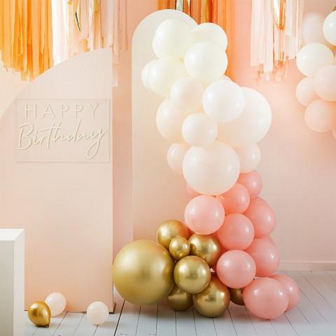 Arco Balões Pêssego, Branco e Dourado