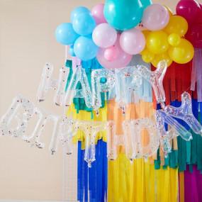 Grinalda Balões Happy Birthday Confetis Coloridos