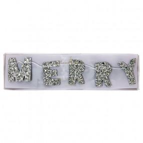 Mini Grinalda Merry Christmas Glitter Prata