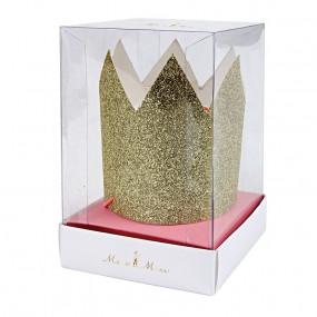 Coroas Glitter Dourado - conj.8