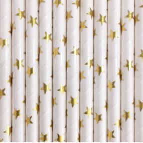 Palhinhas Estrelas Douradas Metálicas