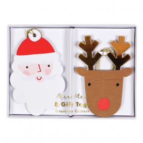 Etiquetas Pai Natal e Rena