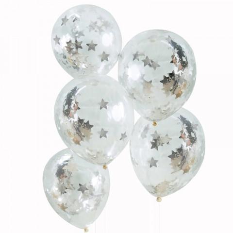 Balões CONFETIS ESTRELAS Prateadas - Conj. 5
