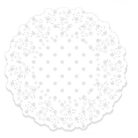 75 Naperons Branco Bolinhas 11cm