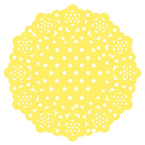 75 Naperons Amarelos Bolinhas 11cm