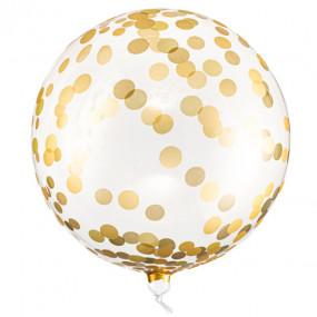 Balão Cristal Confettis Dourados