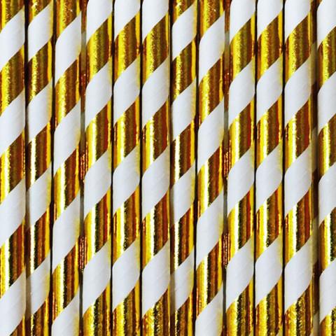 Palhinhas Riscas Dourado Metalico