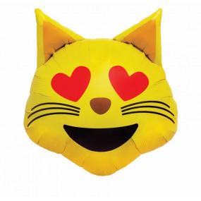 Balão Emoji Gato Olhos Coração 55cm