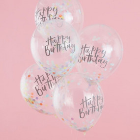 Balões CONFETIS Happy Birthday - conj.5