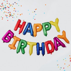 Grinalda Balões Happy Birthday Colors