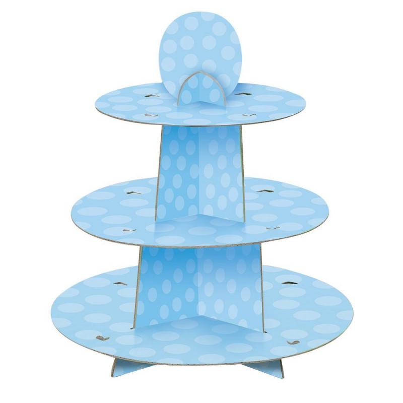 Expositor Cupcakes Azul Bolas