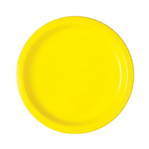 20 Pratos Amarelos 18cm
